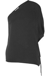 Halston Heritage One Shoulder Satin Trimmed Stretch Silk Crepe Top Black