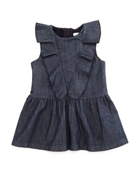 Chloe Sleeveless Ruffle Trim Fit And Flare Chambray Dress Blue