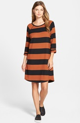 Caslon Stripe Knit Shift Dress Black Rust Stripe