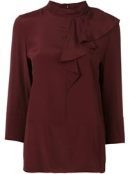 Marni Asymmetric Ruffle Blouse Pink And Purple