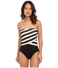 Dkny Iconic Stripe Layered Bandeau Maillot W Removable Soft Cups Black Women's Swimsuits One Piece