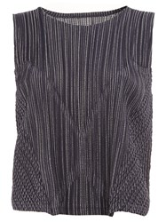 Issey Miyake Pleats Please By Striped Effect Sleeveless Top Blue