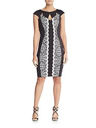 Jax Lace Overlay Cutout Sheath Dress Black Ivory