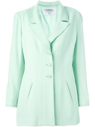 Chanel Vintage Boucle Knit Blazer Green
