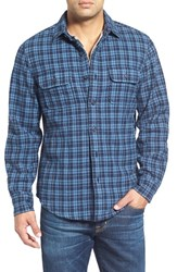 Men's Wallin And Bros. Thermal Lined Flannel Shirt Navy Indigo Black Check
