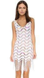 Luli Fama Buena Onda Flirty Fringe Dress White