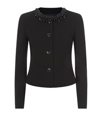 Boutique Moschino Beaded Virgin Wool Jacket Female Black