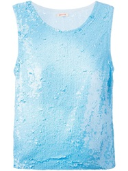 P.A.R.O.S.H. Sequin Tank Top Blue