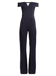 Galvan V Front Off The Shoulder Crepe De Chine Jumpsuit Navy