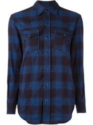 Saint Laurent Checked Western Shirt Blue