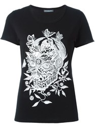 Alexander Mcqueen Butterfly And Floral Skull T Shirt Black