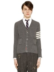Thom Browne Intarsia Stripe Felted Cashmere Cardigan