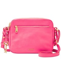 Fossil Leather Piper Toaster Crossbody Neon Pink