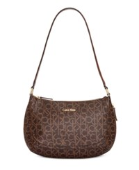 Calvin Klein Monogram Hobo Brown Khaki Luggage Saffiano