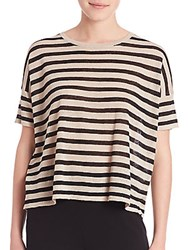 Eileen Fisher Striped Roundneck Top Black Cream Combo