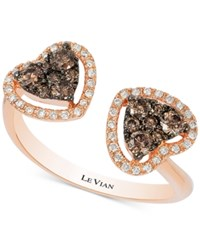 Le Vian Chocolatier Chocolate Deco Diamond Double Heart Open Ring 1 2 Ct. T.W. In 14K Rose Gold