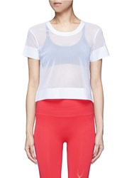 Lucas Hugh Cropped Mesh T Shirt White