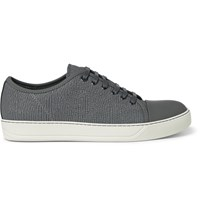 Lanvin Cap Toe Textured Leather Sneakers Gray