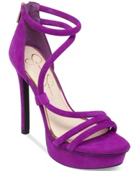 Jessica Simpson Caela Asymmetrical Platform Dress Sandals Women's Shoes Pretty Purple