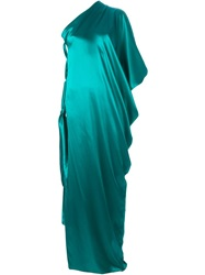 Lanvin Draped One Shoulder Gown Green