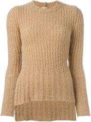 Nao21 Side Slit Jumper Nude And Neutrals