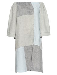 Lisa Marie Fernandez Off The Shoulder Patchwork Linen Dress