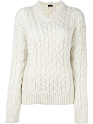Joseph Cable Knit Jumper White