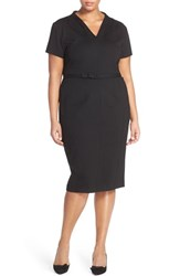 Plus Size Women's Sejour Belted Ponte V Neck Sheath Dress Black
