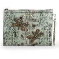 Matthew Williamson Women's Nomad Dragonfly Pouch Leather Clutch Bag Mint Snake