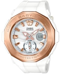 Baby G Women's Analog Digital White Resin Strap Watch 45X47mm Bga220g 7A
