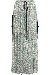 Chloe Tiered Floral Print Crepe De Chine Maxi Skirt Turquoise