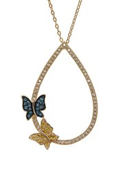 Lord And Taylor Multi Color Diamond 14K Yellow Gold Butterfly Pendant Necklace