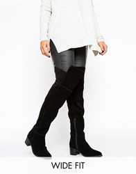 Asos Kaleb Wide Fit Suede Pointed Over The Knee Boots Black