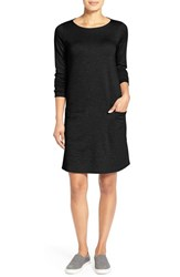 Petite Women's Eileen Fisher Bateau Neck Shift Dress Black