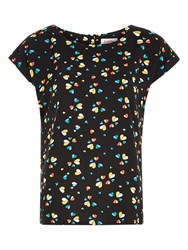 Louche Jeton Heart Print Top Black