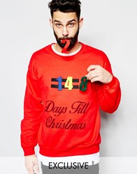Reclaimed Vintage Christmas Countdown Jumper Red