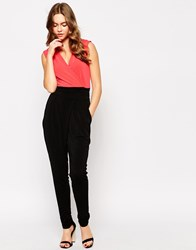 Wal G Wrap Front Jumpsuit Blackcoral
