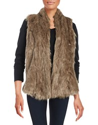 Rafaella Ribbed Knit Lined Faux Fur Vest Dark Chocolate