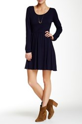 Pink Owl Long Sleeve Back Cut Out Dress Blue