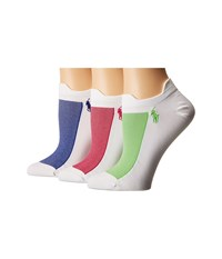 Lauren Ralph Lauren Double Tab Micro Contrast Mesh Low Cut 3 Pack White Royal Women's Crew Cut Socks Shoes Black