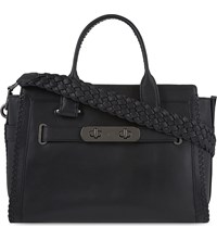 Coach Swagger Woven Leather Tote Dk Black