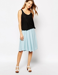People Tree Organic Cotton Midi Skirt Paleblue