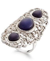 Macy's Silver Tone Large Triple Stone Filigree Statement Ring