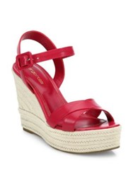 Sergio Rossi Maui Leather Wedge Sandals Electric Pink