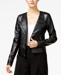 Guess Cropped Faux Leather Moto Jacket Black