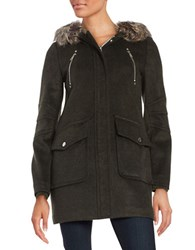 Bcbgeneration Faux Fur Trimmed Duffle Coat Olive
