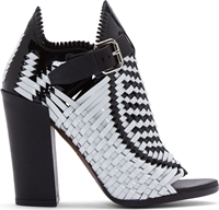 Proenza Schouler Black And White Woven Patent Leather Heels