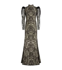 Alexander Mcqueen Backless Butterfly Lace Gown Female Black