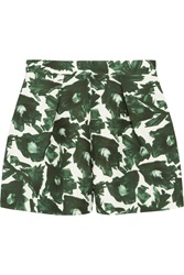 Mother Of Pearl Nyos Printed Cotton Blend Shorts Green