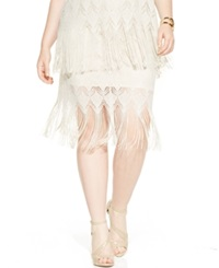 Soprano Plus Size Lace Fringed Skirt Ivory